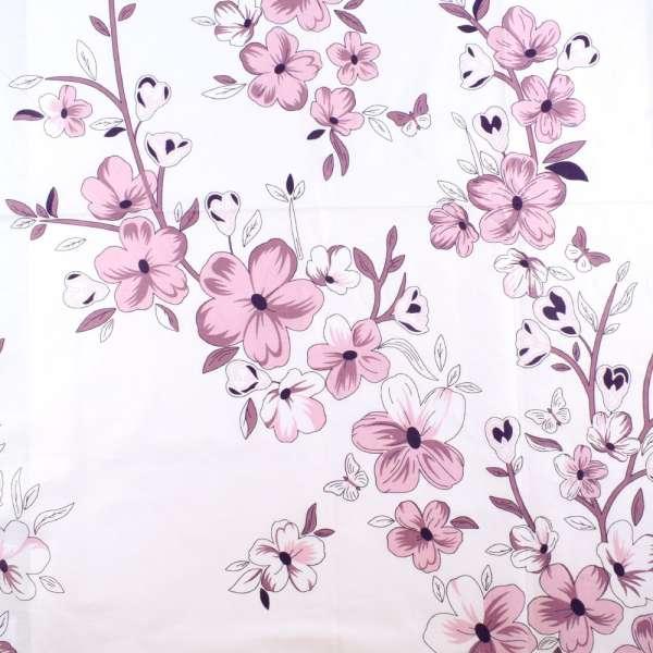 Бязь набив. белая в сиреневые цветы ш.220 оптом