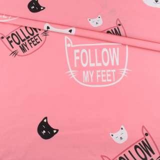 Бязь набивная розовая, белые кошки, ш.220 оптом