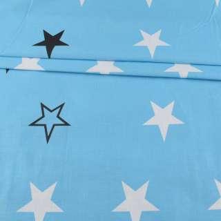 Бязь набивная голубая, белые, черные звездочки, ш.220 оптом