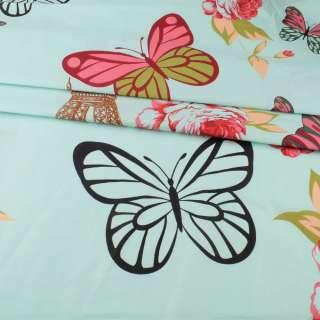 Бязь набивная мятная, бабочки, цветы, Эйфелева башня, ш.220 оптом
