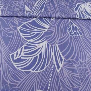 Бязь набивная фиолетовая, сиреневые листья, цветы, ш.220 оптом