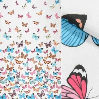 Бязь набивна біла, різнокольорові метелики, ш.220 оптом