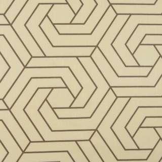Бязь набивна бежева, коричневі шестикутники, ш.220 оптом