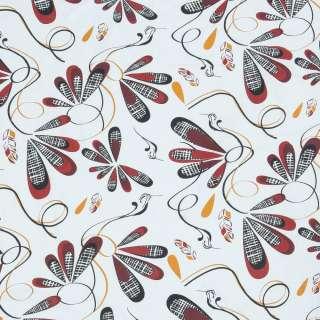 Бязь набивна біла, чорно-червоні птиці, пір'ячко, ш.220 оптом