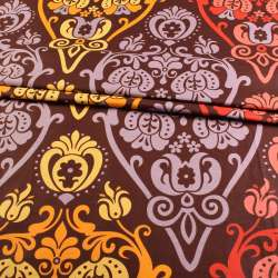 бязь набив. коричневая с оранжево-желтым рисунком ш.220 оптом