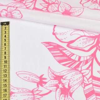 Бязь набив. белая в розовые цветы (хлопок 100%), ш.220 оптом