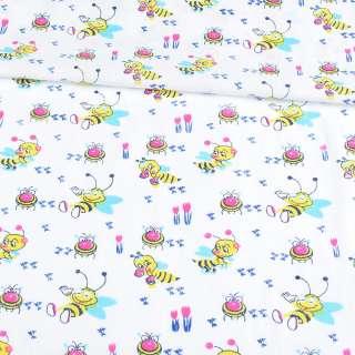 Ситець білий дитячий з бджілками, ш.90 оптом