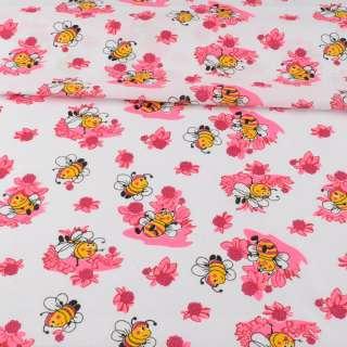 Ситець білий дитячий, бджілки на рожевих квітах, ш.95 оптом