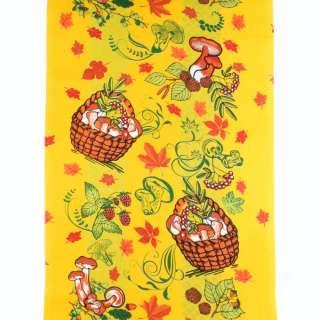 Ткань полотенечная вафельная набивная желтая, листья, грибы, ш.40 оптом