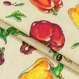 Ткань полотенечная вафельная набивная кремовая с овощами, ш.40 оптом