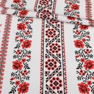 Ткань полотенечная вафельная набивная белая в красный орнамент, ш.45 оптом