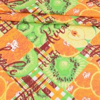 Тканина рушникова вафельна набивна в клітку, апельсини і ківі, ш.45 оптом
