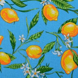 Тканина рушникова вафельна набивна блакитна, жовті лимони ш.40 оптом
