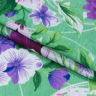 Тканина рушникова вафельна набивна зелена, фіолетові квіти, ш.40 оптом
