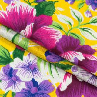 Тканина рушникова вафельна набивна жовта, фіолетові квіти, ш.40 оптом