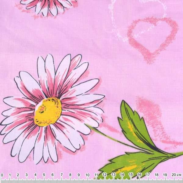 бязь набив. розовая с ромашками и сердцами ш.220 оптом