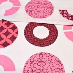 Бязь набив. молочная с розовыми, бордовыми кругами с орнаментом ш.220 оптом
