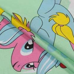 Бязь набивная салатовая, голубые, розовые пони, ш.220