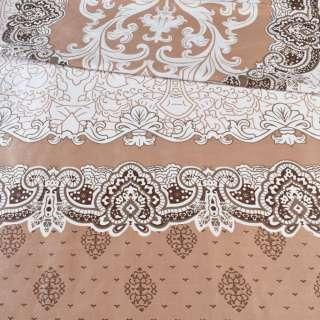 Бязь набивная белая с 2-ст. коричневым купоном и орнаментом ш.220 оптом