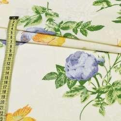 Бязь набив. кремовая, фиолетовые розы и желтые бабочки, ш.220 оптом