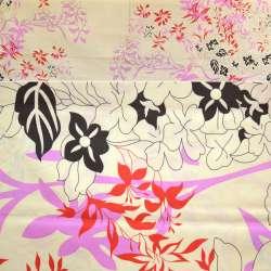 Бязь кремовая с розово-красными цветами ш.220