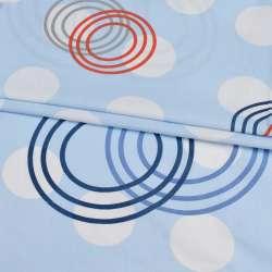 Бязь набив. голубая в белые, красные, серые круги, ш.220 оптом