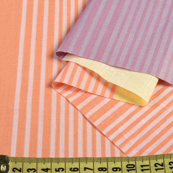 бязь набив. оранжево-сливовые +салатовые широкие полосы, ш.220 оптом