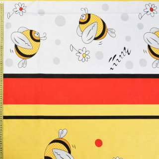 Бязь набивши. жовто-червоно-чорні смуги з бджілками, ш.220 оптом