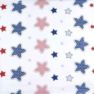 Бязь набив. белая с красными и синими звездами, ш.220 оптом