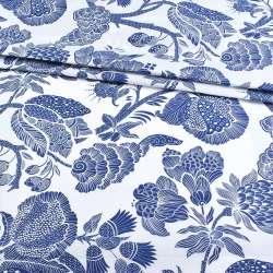 Бязь набивная белая с крупными синими цветами, ш.220