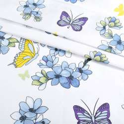 Бязь набив. белая с голубыми цветами и бабочками, ш.220 оптом