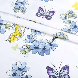 Бязь набивная белая с голубыми цветами и бабочками, ш.220 оптом