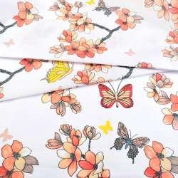 Бязь набивная белая с персиковыми цветами и бабочками, ш.220