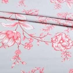 Бязь набив. серая с бело-розовыми цветами, ш.220 оптом