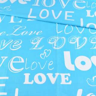 Бязь набивная бирюзовая LOVE, ш.220 оптом