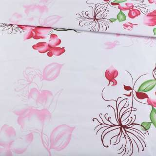 Бязь набив. белая с розово-вишневыми цветами, ш.220 оптом
