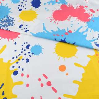 Бязь набивна біла в жовто-сині + блакитні плями і кружечки, ш.220 оптом