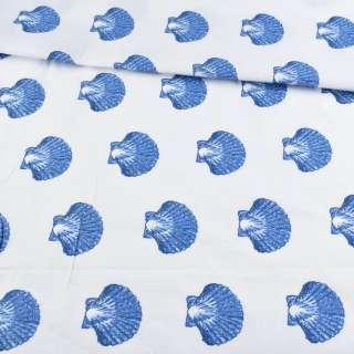 Бязь набивна біла з синіми черепашками, ш.220 оптом