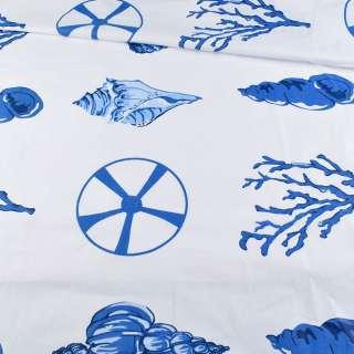 Бязь набивна біла з синіми черепашками, коралами, ш.220 оптом
