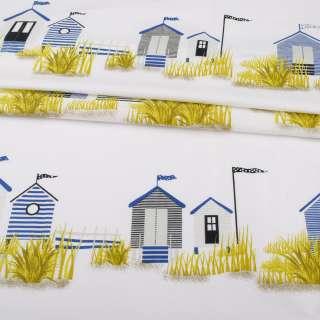 Бязь набивная белая, полосатые домики, ш.220 оптом