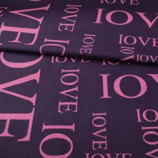 Бязь набивна фіолетова LOVE ш.220 оптом