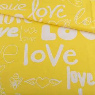Бязь набивная желтая LOVE ш.220 оптом