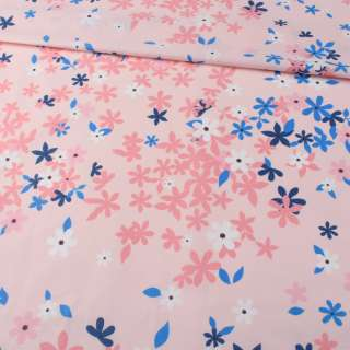 Бязь набивная розовая, синие, розовые цветы, ш.220 оптом