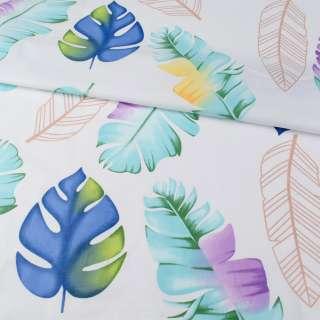 Бязь набивная белая, синие листья, зеленые перья, ш.220 оптом