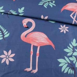 Бязь набивная синяя, розовые фламинго, зеленые листья, ш.220 оптом