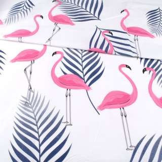 Бязь набивная белая, розовые фламинго, синие ветки, ш.220 оптом