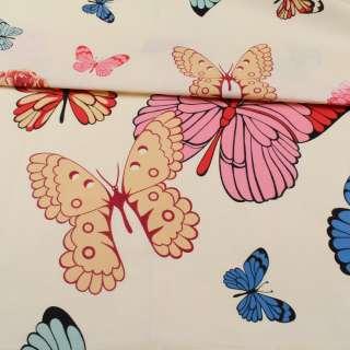 Бязь набивная кремовая, разноцветные бабочки, ш.220 оптом