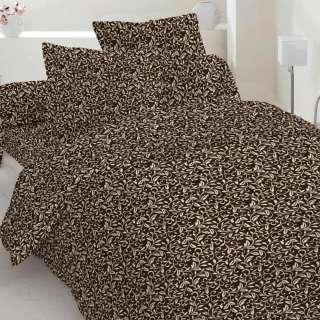 Бязь набивная коричневая темная, белые завитки, ш.220 оптом