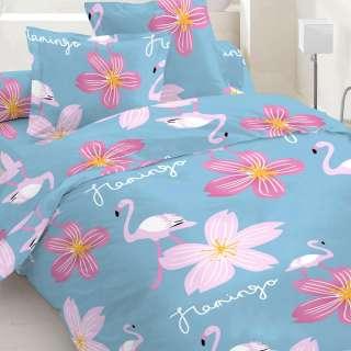 Бязь набивная голубая, фламинго, большие розовые цветы, ш.220 оптом