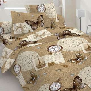 Бязь набивная коричневая, часы, бабочки, салфетки, ш.220 оптом